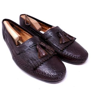 Lorenzo Banfi Men's Shoes Brown Pebbled Leather Kiltie Tassel Loafers Italy Size 11 for Sale in Huntington Beach, CA