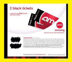 2 AMC Black Ticket Movie. No Exp. Any movie, Anyday for Sale in Costa Mesa, CA