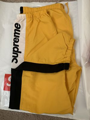 Supreme Side Logo Track Pants Yellow XL IN HAND for Sale in Jurupa Valley, CA