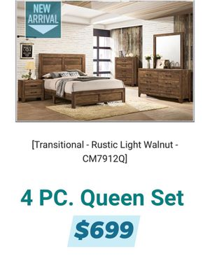 4 PIECES RUSTIC QUEEN BEDROOM SET INCLUDED QUEEN BED FRAME DRESSER MIRROR AND ONE NIGHT STAND MATTRESS SOLD SEPARATE We finance Text 28992 to 48078 for Sale in Chino, CA