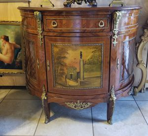 Antique Bombay or table cabinet w bronze details and hand painted for Sale in Miami, FL