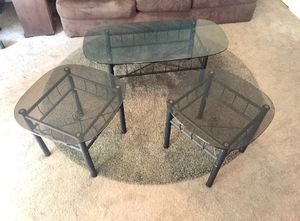 Glass-top coffee table with 2 matching end tables for Sale in San Diego, CA