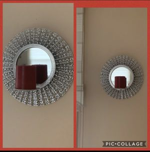 4 piece Wall Mirror Candle Holders!!!! 12 inch length!!! Diameter 12 inch!!!With Red Candles!!! Now only 15$ for 4 piece!!!! for Sale in Streamwood, IL