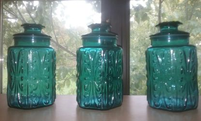 3 × Vintage Teal Glass Atterbury Scroll design Apothecary Jars by Imperial Glass for Sale in Anderson,  IN