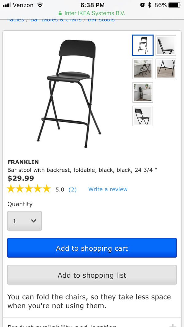 Amazing Two 2 Ikea Franklin Bar Stools With Backrest Foldable Theyellowbook Wood Chair Design Ideas Theyellowbookinfo
