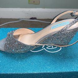 Shiny Silver Wedge Heels (Size 8 W) for Sale in Louisville,  KY