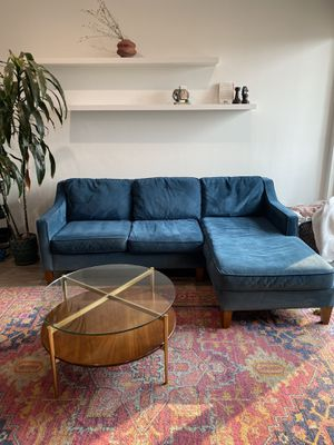 WEST ELM BLUE VELVET CHAISE SOFA - must go ASAP! for Sale in Los Angeles, CA