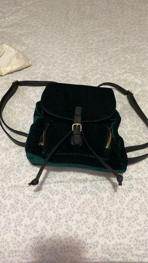 Emerald green velvet cute backpack/ purse for Sale in Dublin, OH