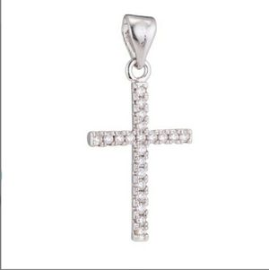 Silver Cross Cubic Zirconia Jesus Christian pendan for Sale in Salt Lake City, UT