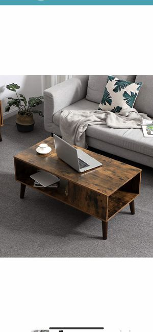 Retro Coffee Table, Cocktail Table, Mid-Century Modern Accent Table with Storage Shelf for Living Room, Reception, Easy Assembly, Brown for Sale in Corona, CA