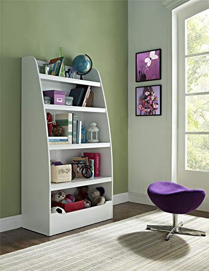 White kids bookcase