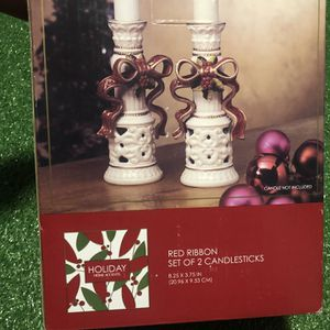 Holiday Home Accents - Set of 2 Candlesticks - Red Ribbon Style - Never Used for Sale in Baltimore, MD