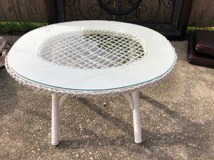Glass top wicker table for Sale in Elberta, AL