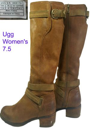 Ugg Darcie Women's 7.5 Riding Boots Size 7.5 Chestnut Leather Zip Up 1004172 for Sale in Burr Ridge, IL