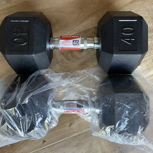 Two 40lb Weights Weider Hex Rubber Dumbbells for Sale in East Los Angeles, CA