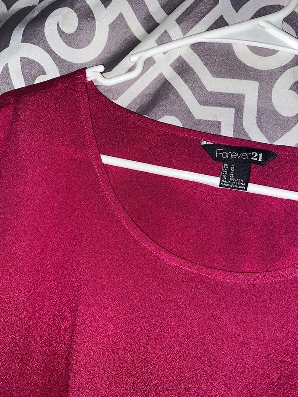 Size Medium Hot Pink F21 Forever 21 Blouse Basic Chiffon