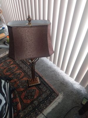 Tall metal table lamp fabric brown shade 32 tall for Sale in Alexandria, VA