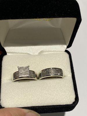 2-pc Set 10k White Gold Rings with Diamonds Beautiful! for Sale in Hampton, VA
