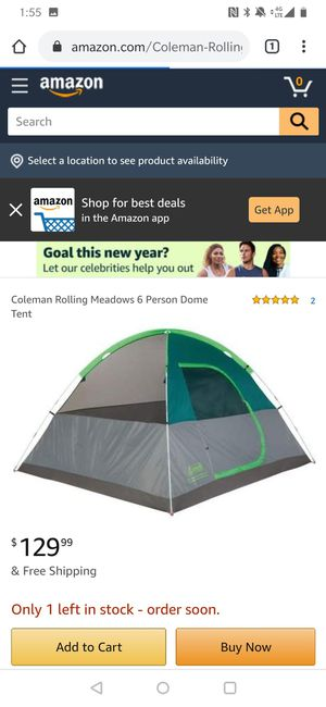 Coleman rolling meadows ii 6 person dome tent for Sale in Chula Vista, CA
