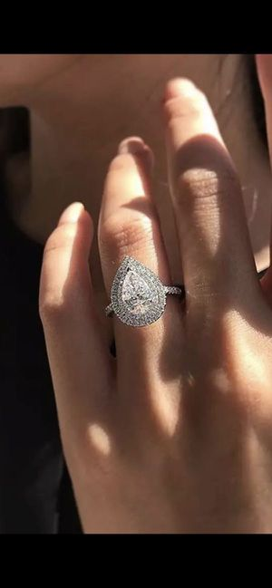 Stamped 925 Sterling Silver Tear Drop Diamond Ring- Code SA24 for Sale in Las Vegas, NV