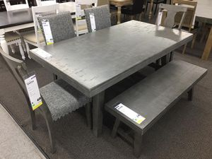 GREY DISTRESSED WOOD DINING TABLE WITH CHAIRS AND BENCH for Sale in Walnut, CA