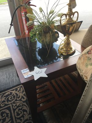 Marble Inlay 2 Tier Wooden End Table for Sale in Marietta, GA