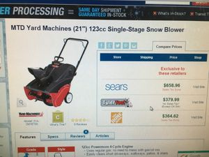 "MTD SNOW BLOWER 21"" for Sale in New York, NY"