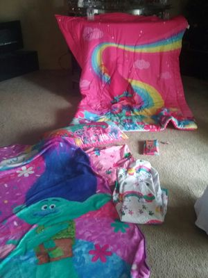 Everything you would need for a trolls bedroom reversible comforter sheets blankets curtains figurines curtains table and chairs garbage can for Sale in Southfield, MI