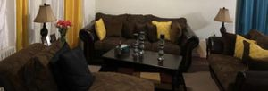 3 seater sofa and a love seat sofa and 3 tables 1 center and 2 coffee tables for Sale in Paterson, NJ