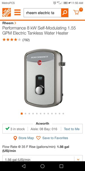 Brand New! Tankless hot water heater by rheem for Sale in Dallas, GA