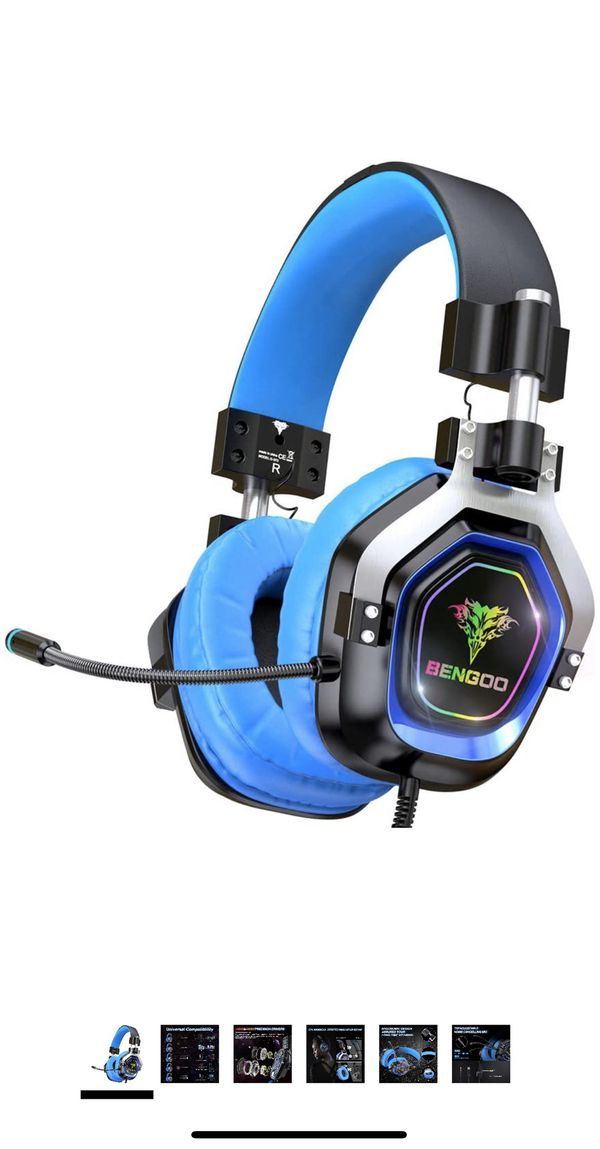 BENGOO Gaming Headset for PS4, Xbox One, PC,【4 Speaker Drivers】 Over Ear Headphones with 45° Adjustable Earmuff, 720° Noise Canceling Microphone, Sof