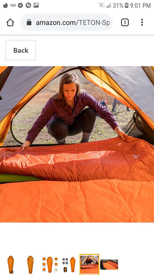 TETON Sports Altos Lightweight Mummy Sleeping Bag; Camping, Hiking, Backpacking - Orange