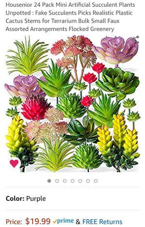 24 Pack Mini Artificial Succulent Plants Unpotted : Fake Succulents Picks Realistic Plastic Cactus Stems for Sale in La Habra Heights, CA