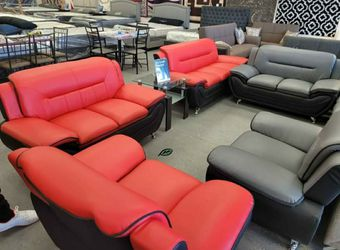 🏺$39 Down Payment . 🏺🏺Enna Red/Black Sofa & Loveseat | U2705 for Sale in Beltsville,  MD