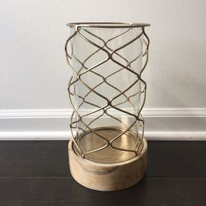 Rustic wood, metal, glass candle holder, large for Sale in Westerville, OH