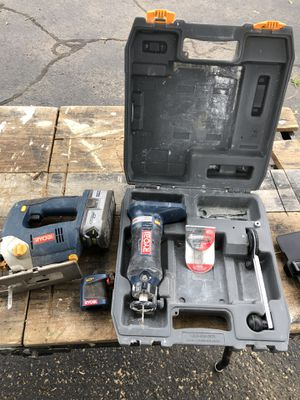 Ryobi jid saw and Sheetrock router with a battery for Sale in Mansfield, MA