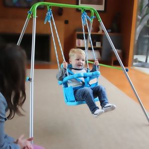Title: Sportspower Indoor/Outdoor My First Toddler Swing (Shipping) Description: Foldable frame for storage and portability Molded plastic nursery sea for Sale in Sugar Land, TX