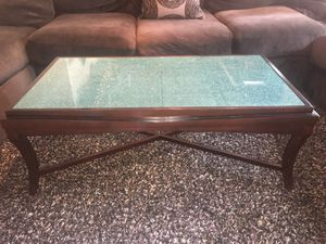 Dark Wood with Glass Top Coffee Table for Sale in San Diego, CA