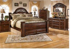 Gabriela - Dark Reddish Brown - 7 Pc. - Dresser, Mirror, Chest & Queen Poster Bed with Footboard Sto for Sale in Naples, FL