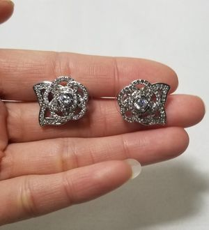 Cz diamond flower camellia studs drops earrings dangle for Sale in Austin, TX