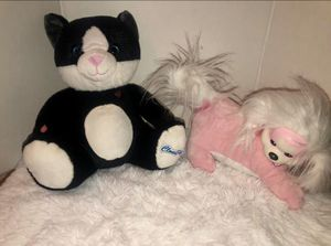 Black & white cat and Pink dog Stuffed Animals for Sale in Apple Valley, CA