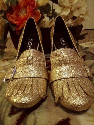 Golden Sparkle Buckled Fringe Heels for Sale in Aurora, CO