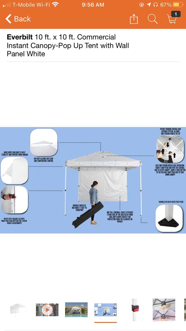 Everbilt 10 ft. x 10 ft. Commercial Instant Canopy-Pop Up Tent with Wall Panel White