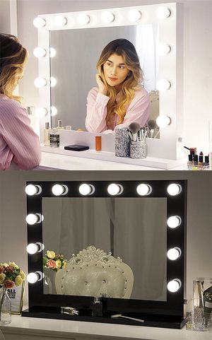 "(New in box) $200 X-Large Vanity Mirror w/ 12 Dimmable LED Light Bulbs, Hollywood Beauty Makeup Power Outlet 32x26"" for Sale in Whittier, CA"