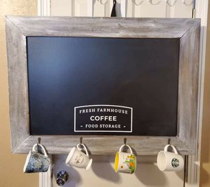 chalkboard with coffee cup hooks for Sale in Fresno, CA