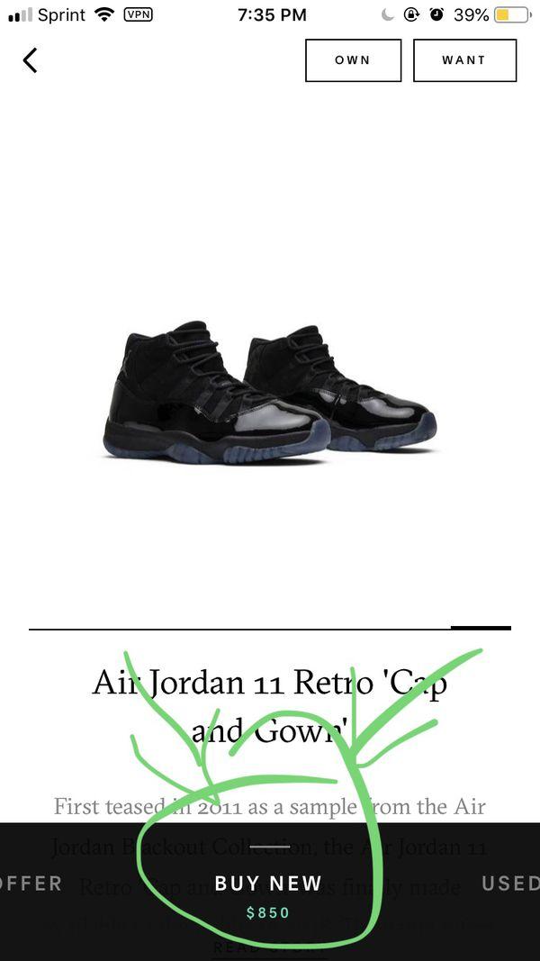 "Jordan retro 11 ""cap and gown"" size 11"