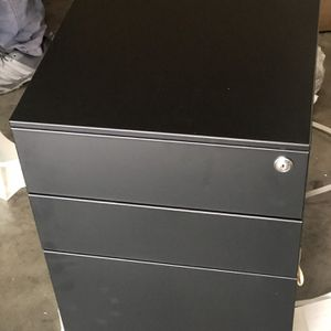 Black Filing Cabinet 3 Drawer Metal File Cabinet with Lock, Locking Filing Cabinets for Office Home, Rolling Mobile File Cabinets for Legal Letter on for Sale in Chino, CA