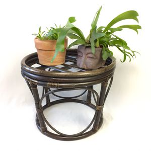 Rattan Bohemian Dark Wood Stool / Side Table / Plant Stand Decor for Sale in Tustin, CA