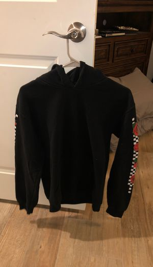 Black hoodie with flower checkered sleeves for Sale in Phoenix, AZ