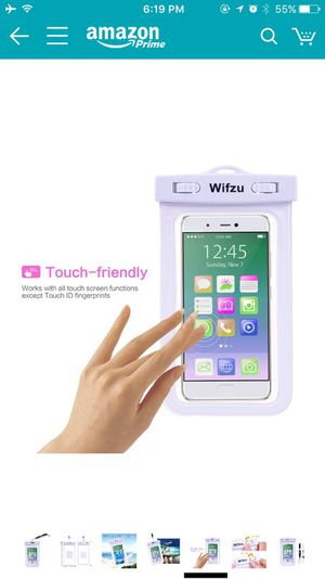 Wifzu Waterproof Case Dry Bag Universal Cell Phone Pouch for 6-Inch Phablets Water Resistant White for Sale in Boston, MA